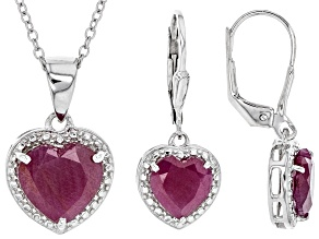 Red ruby rhodium over silver earring and pendant set 6.75ctw
