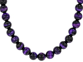 Purple tiger's eye bead strand sterling silver necklace