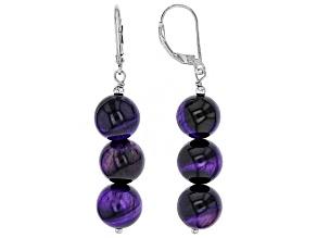 Purple tiger's eye sterling silver earrings