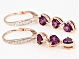 Purple rhodolite 18k rose gold over silver earrings 2.78ctw