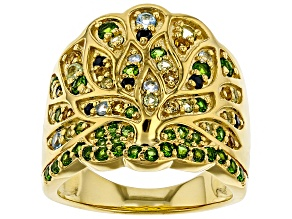 Green chrome diopside and multi-color mixed stone 18k gold over silver ring .95ctw