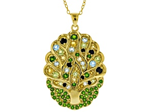 Green Russian Chrome Dioside 18k gold over silver pendant with chain 1.92ctw