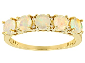 Ethiopian opal 18k yellow gold over silver ring .70ctw