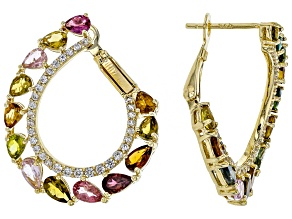 Mixed-Color Tourmaline 18k Gold Over Silver Hoop Earrings 4.60ctw