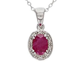 Red Ruby Rhodium Over Sterling Silver Pendant With Chain .82ctw