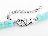 Blue Peruvian opal sterling silver bead strand necklace