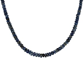 Blue sapphire bead strand sterling silver necklace