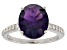Purple African amethyst rhodium over silver ring 4.20ctw