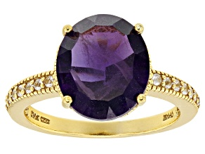 Purple amethyst 18k gold over silver ring 4.34ctw