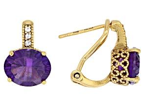 Purple amethyst 18K gold over silver earrings 4.68ctw