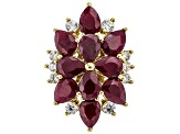 Red ruby 18k gold over silver ring 9.58ctw