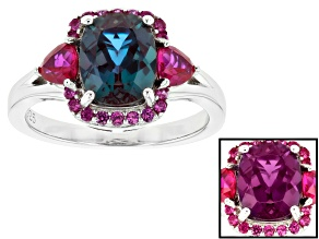 Color change lab created alexandrite rhodium over silver ring 3.08ctw