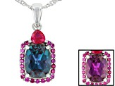 Color change lab created alexandrite rhodium over silver pendant with chain 2.76ctw