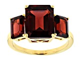 Red garnet 18k gold over silver ring 7.48ctw