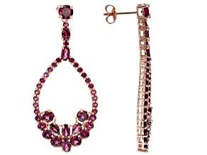 Raspberry color raspberry color rhodolite 18k gold over silver earrings 9.94ctw