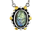 Gray Labradorite Sterling Silver Necklace 5.00ct