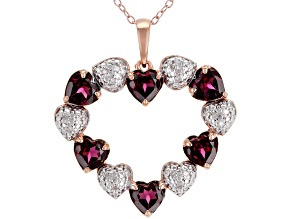 Raspberry rhodolite 18k rose gold over silver pendant with chain