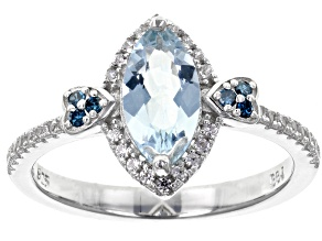 Blue Aquamarine Rhodium Over Sterling Silver Ring 1.09ctw