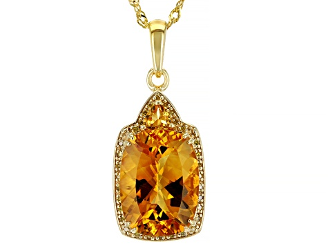 Yellow citrine 18k yellow gold over silver pendant with chain 7.48ctw