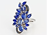 Blue kyanite rhodium over sterling silver ring 4.55ctw