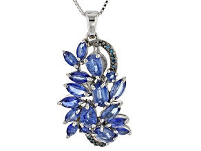 Blue kyanite rhodium over silver pendant with chain 4.55ctw