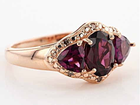 Raspberry color rhodolite 18k rose gold over silver ring 2.57ctw