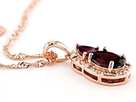 Rasberry Color Rhodolite 18k Rose Gold Over Sterling Silver Pendant with Chain 1.87tw
