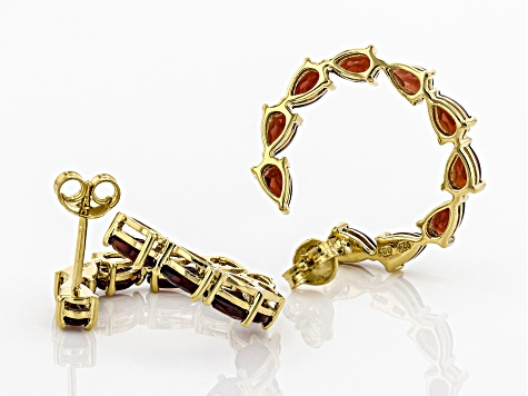 Red garnet 18k yellow gold over silver hoop earrings 4.25ctw