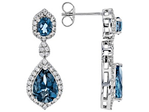 London blue topaz rhodium over silver earrings 5.72ctw
