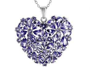 Blue tanzanite rhodium over sterling silver pendant with chain 7.30ctw