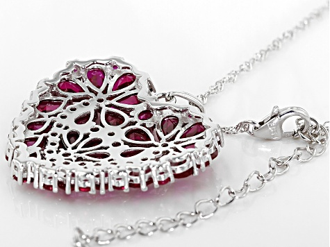 Red Lab Created Ruby Rhodium Over Silver Pendant With Chain 7.96ctw