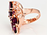 Raspberry Color Rhodolite 18k Rose Gold Over Silver Ring 5.82ctw