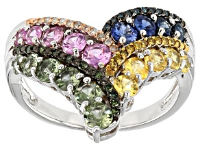 Multi color sapphire  rhodium over sterling silver ring 1.72ctw