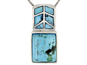 Blue Turquoise Rhodium Over Sterling Silver Slide With Chain