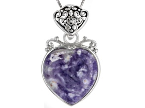 Purple Morado Opal Rhodium Over Silver Enhancer With Chain