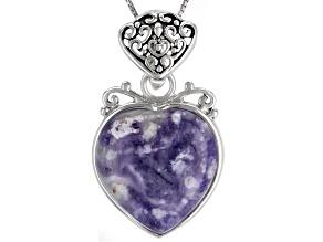 Purple Morado Opal Rhodium Over Silver Enhancer With Chain