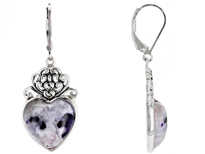 Purple Morado Opal Rhodium Over Sterling Silver Earrings