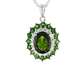 Green chrome diopside rhodium over silver pendant with chain 4.51ctw