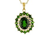 Green chrome diopside 18k gold over silver pendant with chain 4.51ctw
