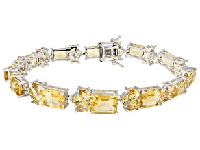 Yellow Citrine Rhodium Over Silver Bracelet 22.66ctw