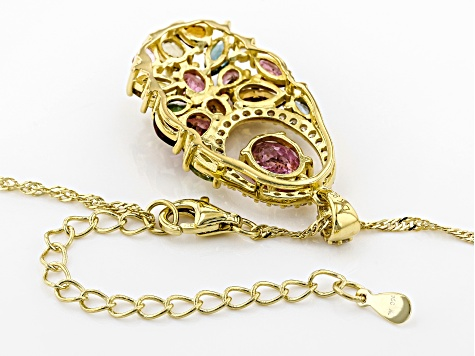 Multi-color tourmaline 18k gold over silver pendant with chain 3.69ctw