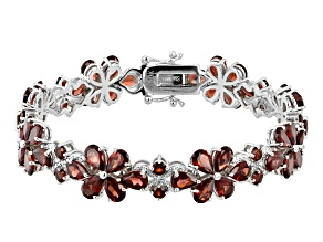 Red garnet rhodium over sterling silver bracelet 24.93ctw
