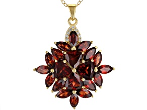 Red garnet  18k gold over silver pendant with chain 7.29ctw