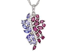 Blue tanzanite rhodium over silver pendant with chain 2.79ctw