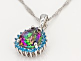 Mystic Fire® Green Topaz Rhodium Over Silver Pendant With Chain 3.34ctw