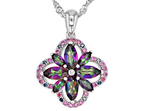 Green Mystic Fire(R) topaz rhodium over silver pendant with chain 1.52ctw