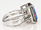 Green Mystic Fire(R) topaz rhodium over silver ring 9.34ctw