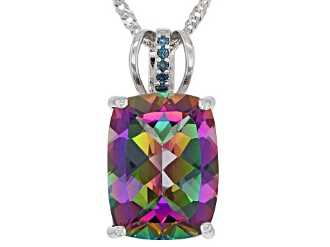 Green Mystic Fire(R) topaz rhodium over silver pendant with chain 9.30ctw