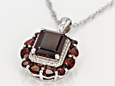 Red Garnet Rhodium Over Silver Pendant With Chain 5.64ctw