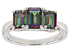 Green Mystic Fire(R) Topaz Rhodium Over Silver 3-Stone Ring 2.20ctw
